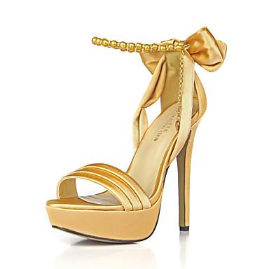 Mulheres Seda Verão Sapatos clube Sandálias Dedo Aberto Laço / Corrente Vermelho / Azul / Ivory / Casamento / Festas & Noite / Festas & Noite