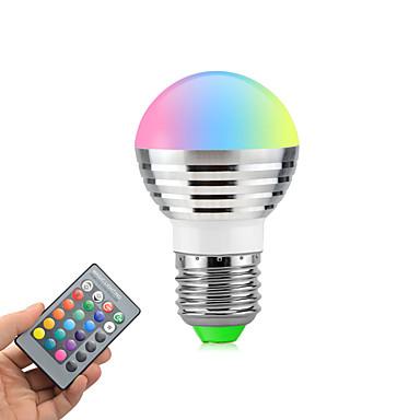 3 W 270 lm E26 / E27 مصابيح كروية LED متحول 1 الخرز LED طاقة عالية LED تخفيت / جهاز تحكم RGB 85-265 V / قطعة