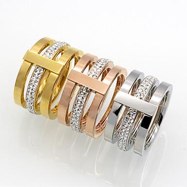billige Motering-Herre, Dame Kubisk Zirkonium Band Ring - Kubisk Zirkonium, Titanium Stål, 18K Gullbelagt Gull, Sølv, Rose