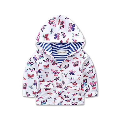 فتيات معطف المطر طباعة حيوانات يوميا الرياضة مدرسة قطن بوليستر شتاء ربيع خريف كم طويل طباعة حيوانات أزرق أبيض أرجواني