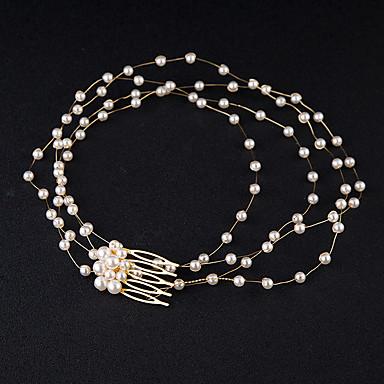 Pérola / Cristal Headbands / Pentes de cabelo / Cadeia da cabeça com 1 Casamento / Ocasião Especial Capacete