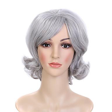 פאות סינתטיות מתולתל / גלי שיער סינטטי שיער טבעי אפור פאה ללא מכסה