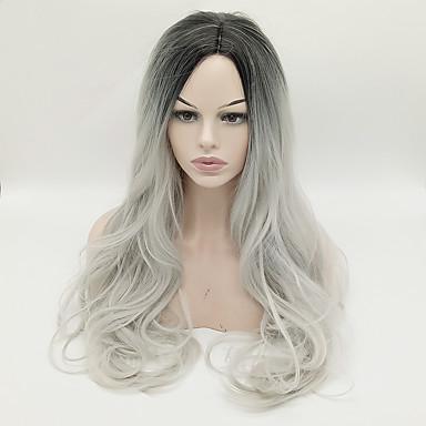 Syntetiske parykker Bølget Midtdel Syntetisk hår Varme resistent / Til fargede kvinner Grå Parykk Dame Lang Lokkløs Grå