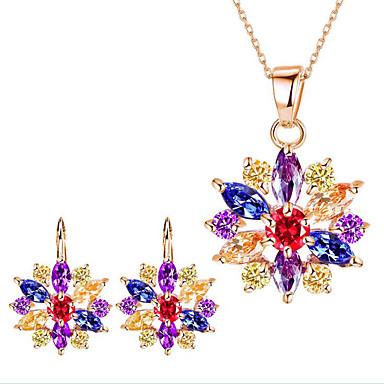 Mulheres Conjunto de jóias - Flor Incluir Sets nupcial Jóias Dourado / Branco / Arco-íris Para Festa Diário Casual