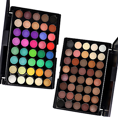 Eyeshadow Palette Alcohol Free Ammonia Free Formaldehyde Free Makeup Men and Women Lady Eye Dry Matte Shimmer Long Lasting Breathability Fashion 40 Colors Eyeshadow, 2PCS Mixed Color Sery Palettes in