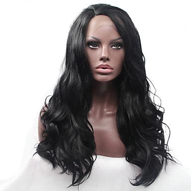 Syntetisk blonder foran parykker Naturlige bølger Syntetisk hår Varme resistent / limfrie Svart Parykk Dame Blonde Forside