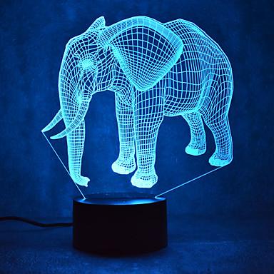 الفيل اللمس يعتم 3d ليد ضوء الليل 7 الملونة الديكور جو مصباح الجدة الإضاءة الخفيفة