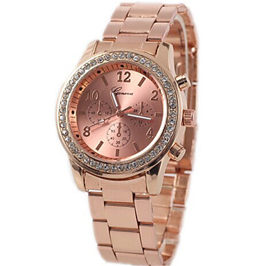 cheap Women's Watches-Women's Fashion Watch Simulated Diamond Watch Quartz Rose Gold Plated Alloy Band Casual Silver Rose Gold