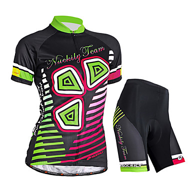 Nuckily Women's Short Sleeves Cycling Jersey with Shorts - Black Floral / Botanical Bike Shorts Jersey Clothing Suits, Waterproof,