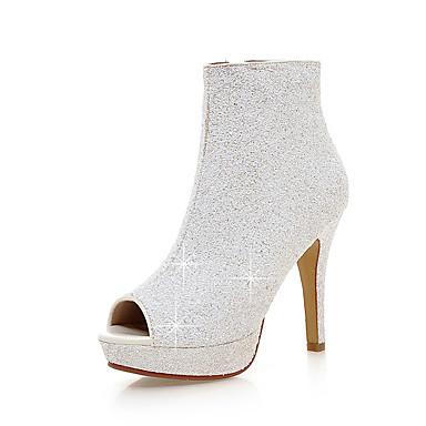 povoljno Ženske čizme-Žene Čizme Stiletto potpetica Peep Toe Šljokice / Patent-zatvarač PU Klub obuća Ljeto / Jesen Obala / Crn / Pink / Zabava i večer