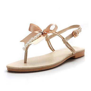billige Sandaler til damer-Dame Sandaler Fladhæl Sandaler Flade hæle Rund Tå Rosette PU Slingback Sko Forår / Sommer Guld / Beige / Brun / Fest / aften / Fest / aften / EU39