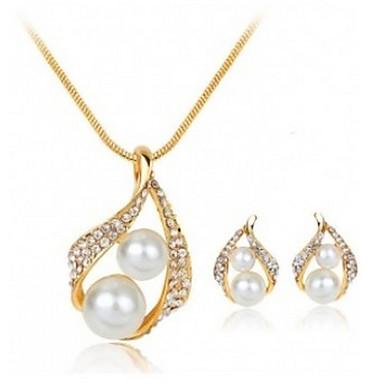 Mulheres Conjunto de jóias - Imitação de Pérola, Strass Caído Básico Incluir Dourado Para Casamento / Festa / Ocasião Especial