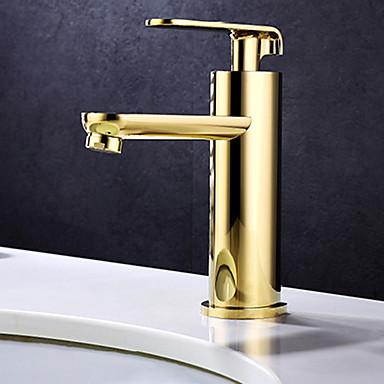 Arte Deco/Retro Conjunto Central Separada Válvula Cerâmica Monocomando e Uma Abertura Ti-PVD, Torneira pia do banheiro