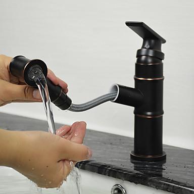 Torneira pia do banheiro - Torneira Destacável Bronze Polido a Óleo Conjunto Central Monocomando e Uma Abertura