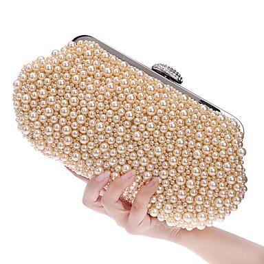 hesapli Çantalar-Kadın's İmistasyon İnci Gece Çantası Düğün Çantaları Arkilik Geometrik Şampanya / Beyaz / Bej