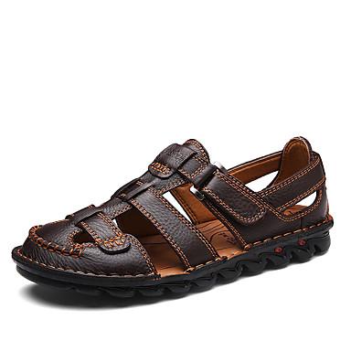 Homens sapatos Couro / Pele Primavera / Verão Solados com Luzes / Buraco Shoes Sandálias Preto / Castanho Escuro