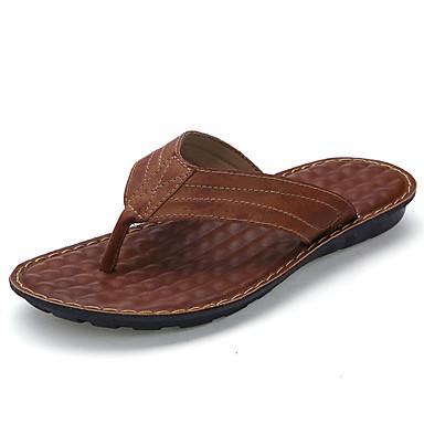 Homens sapatos Pele Verão Conforto Chinelos e flip-flops Caminhada Combinação para Casual Preto Marron