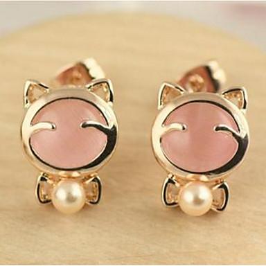Herrn Damen Ohrstecker Tropfen-Ohrringe Synthetischer Opal Imitierte Perlen Basis Kreisförmiges Einzigartiges Design Tier Design Herz