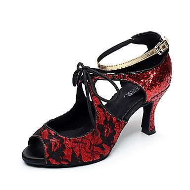여성 라틴 댄스 레이스 샌달 힐 실내 레이스 스파클링 글리터 스틸레토 굽 블랙 실버 레드 7.5 - 9.5cm 주문제작 불가능