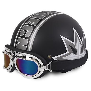 meia face motocicleta capacete trevo padrão flexível abs rua motocicleta capacete matte cor preta