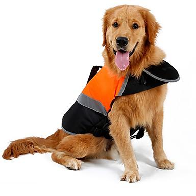 Gato Cachorro Capa de Chuva Colete Colete Salva-Vidas Roupas para Cães Sólido Laranja Verde Algodão Terylene Ocasiões Especiais Para