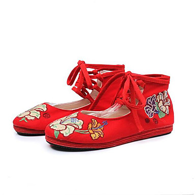여성 플랫 캐주얼 레이스 업 캐주얼 신발 봄 자수