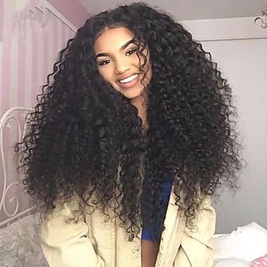 שיער בתולי חלק קדמי תחרה ללא דבק / חזית תחרה פאה שיער ברזיאלי מתולתל פאה עם שיער תינוקות 130% / 150% / 180% פאה אפרו-אמריקאית / גלואלס בגדי ריקוד נשים קצר / ארוך / חצי אורך פיאות תחרה משיער אנושי