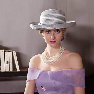 voordelige Hoeden-Vlechtwerk Kentucky Derby Hat / hatut met Bloem 1pc Bruiloft / Speciale gelegenheden  / Causaal Helm