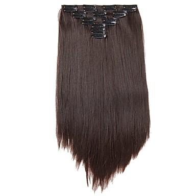شعر مستعار صناعي إطالة الشعر مستقيم كلاسيكي Clip In يوميا جودة عالية