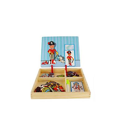 Quebra-Cabeça Jogos de Madeira Quadrada Magnética Faça Você Mesmo Papel Clássico Crianças Dom