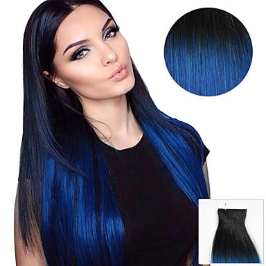 20kpl nauha hiusten pidennykset musta sininen ombre 40g 16inch 20inch 100% hiuksista naisten