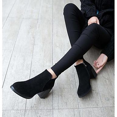 Damen Stiefel Komfort PU Frühling Normal Komfort Schwarz Braun Flach