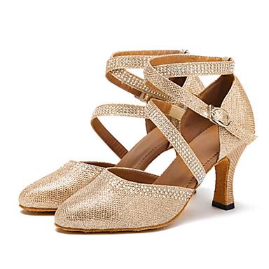 baratos Sapatos de Dança de Cristal-Mulheres Sapatos de Dança Courino Sapatos de Dança Moderna Pedrarias / Presilha Sandália / Salto Salto Personalizado Personalizável Dourado / Prata / Profissional