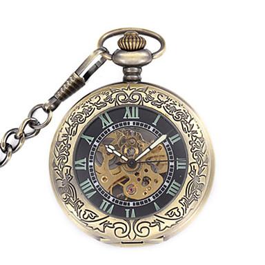 baratos Relógios Homem-Homens Relógio Esqueleto Relógio de Bolso relógio mecânico Quartzo Mecânico - de dar corda manualmente Aço Inoxidável Bronze Analógico Steampunk - Preto