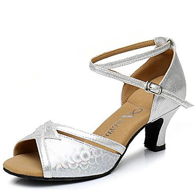 Mulheres Sapatos de Dança Latina Sintético Sandália Salto Robusto Não Personalizável Sapatos de Dança Dourado / Prata / Marron