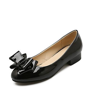 Mulheres Sapatos Couro Envernizado Primavera / Verão Conforto Saltos Salto Baixo Ponta Redonda Laço Preto / Vermelho / Social