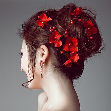 abordables Coiffes-Imitation de perle / Satin Bandeaux / Fleurs / Chaîne de tête avec 1 Mariage / Occasion spéciale / De plein air Casque
