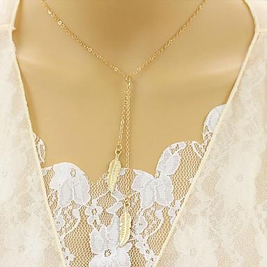 billige Mote Halskjede-Dame Syntetisk Diamant Y Halskjede lagdelte Hals Blad Formet damer Unikt design Euro-Amerikansk Legering Gull Sølv Halskjeder Smykker Til Fest Daglig Avslappet