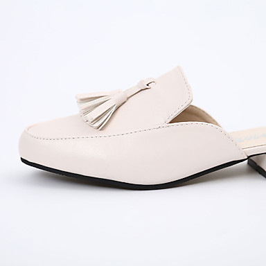 Primavera Bajo Negro Mujer Tacón PU Borla Beige redondo Confort Sandalias Verano 05822256 Zapatos Dedo wqxE0CqR