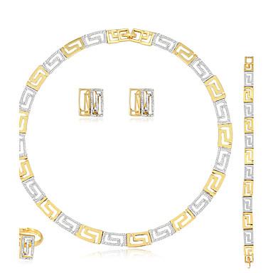 여성용 보석 세트 귀걸이 / 팔찌 목걸이 / 반지 패션 Euramerican 결혼식 파티 생일 약혼 일상 캐쥬얼 라인석 합금 Geometric Shape 링 1 쌍의 귀걸이 1 팔찌 목걸이
