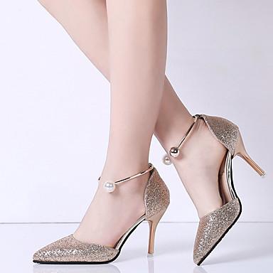 Confort Puntiagudo Plata Paseo Dedo Sandalias Verano Mujer Negro 05868402 Stiletto Tacón Dorado Zapatos PU qznaZft