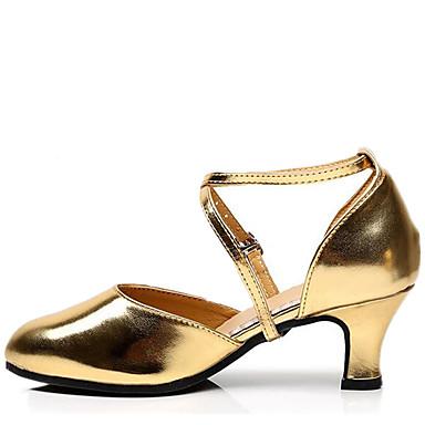 للمرأة أحذية رقص جلد صندل كعب متوسط غير مخصص أحذية الرقص أسود / فضي / أحمر