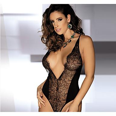 여성 코르셋 드레스 잠옷,자카드 섹시-얇음 나일론 블랙