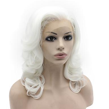 Perucas Lace Front Sintéticas Onda de Corpo Cabelo Sintético Riscas Naturais Branco Peruca Mulheres Médio Frente de Malha
