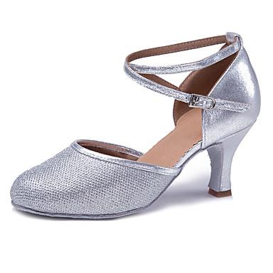 للمرأة أحذية رقص بريّق / جلد محفوظ صندل / كعب ترتر / بريق مميز / مشبك كعب كوبي مخصص أحذية الرقص ذهبي / فضي / أداء