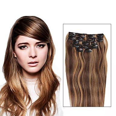 Com Presilha Extensões de cabelo humano Liso Cabelo Humano Diário