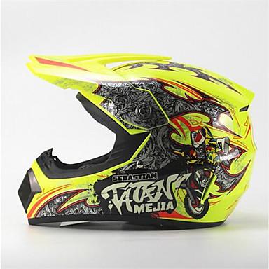 cheap Motorcyle Helmets-MEJIA Off-Road Motorcycle Racing Helmet Gloss Yellow Full Face Damping Durable Motorsport Helmet