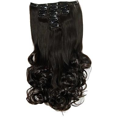 Χαμηλού Κόστους Εξτένσιον-Εξτένσιον από Ανθρώπινη Τρίχα Σγουρά Κυματιστό Συνθετικά μαλλιά Hair Extension Κουμπωτό Καθημερινά