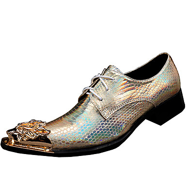 Homens sapatos Pele Napa Primavera Outono Sapatos formais Oxfords para Casual Escritório e Carreira Ao ar livre Festas & Noite Dourado