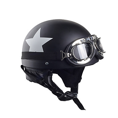 Motorcycle Helmets With Goggles Visor Vintage Motocross Half Face Helmet Carbon White Star 55cm-60cm For Harley kawasaki